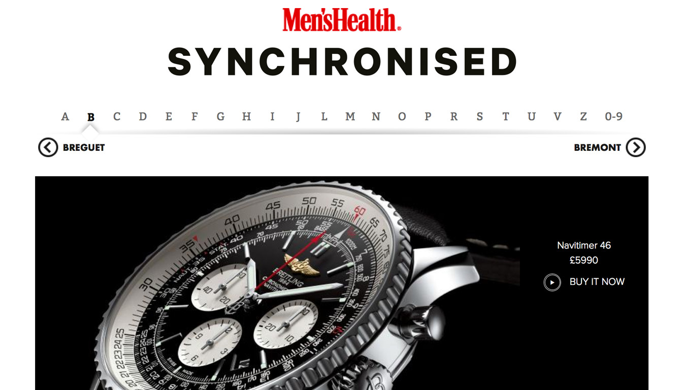 Project: Men's Health Synchronised Watch Brands A-Z